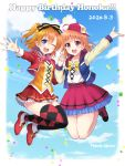 2girls :d ;d ahoge argyle argyle_legwear artist_name bangs baseball_cap black_legwear blue_eyes bow bowtie clothes_writing commentary_request confetti cropped_jacket cross-laced_clothes dated day earrings flower group_name hair_ribbon happy_birthday hat highres holding_hands jacket jewelry jumping kousaka_honoka long_sleeves love_live! love_live!_school_idol_project love_live!_sunshine!! mismatched_legwear multiple_girls one_eye_closed one_side_up open_mouth orange_hair orange_shirt pink_neckwear raglan_sleeves red_eyes red_footwear red_jacket red_skirt ribbon sailor_collar sakurai_makoto_(custom_size) shirt shoes skirt sky smile striped striped_ribbon sunny_day_song takami_chika white_flower white_shirt yellow_neckwear