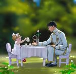 1boy 1girl age_difference alternate_color amestris_military_uniform artist_name black_eyes black_footwear black_hair blurry blurry_background chair child closed_mouth cup cupcake day dessert dress drink elicia_hughes flower food from_side full_body fullmetal_alchemist garden grass hand_on_lap hand_up happy hat holding holding_teapot leaf leaning leaning_forward light_brown_hair looking_down mary_janes military military_hat military_uniform outdoors outstretched_arm pink_flower pink_rose plant pouring profile red_footwear rose roy_mustang shoes sleeveless sleeveless_dress smile table tablecloth tareme tea tea_set teacup teapot tiered_tray twintails uniform urikurage vase white_dress white_headwear