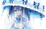 1girl bangs black_hair blue_bow blue_eyes blue_nails blue_neckwear blue_ribbon blush bow center_frills closed_mouth earrings expressionless eyebrows_visible_through_hair fishnets frills holding jewelry kazunehaka lolita_fashion long_hair long_sleeves looking_at_viewer nail_polish neck_ribbon original parasol ribbon ring simple_background solo stud_earrings twintails umbrella upper_body white_background
