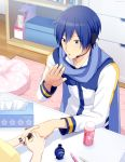 1boy blowing blue_eyes blue_hair blue_scarf brush coat commentary cushion headset holding_hands indoors kaito manicure master_(vocaloid) nail_polish nail_polish_bottle nokuhashi pen polishing rug scarf shelf table tissue_box upper_body vocaloid white_coat wooden_floor