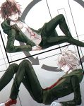 2boys ahoge alternate_costume artist_name black_jacket brown_hair collarbone commentary_request danganronpa danganronpa_1 eyebrows_visible_through_hair feet_out_of_frame green_jacket hair_between_eyes jacket komaeda_nagito long_sleeves looking_at_viewer lying male_focus multiple_boys naegi_makoto on_side pants sakuyu shirt shoes short_hair super_danganronpa_2 twitter_username white_eyes white_hair white_shirt yellow_eyes