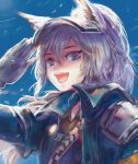 1girl :d animal_ears arknights artist_name gloves grani_(arknights) highres long_hair looking_at_viewer open_mouth police police_uniform policewoman portrait salute silver_hair sky smile solo uniform violet_eyes wolf_ears wolf_girl xilveroxas