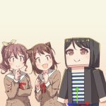 3girls :d arrow_(symbol) ayasaka bang_dream! bangs black_hair black_jacket brown_dress brown_hair clenched_hands commentary_request dress hair_ornament hair_ribbon hanasakigawa_school_uniform hand_on_own_chin hands_up jacket long_sleeves minecraft multiple_girls neck_ribbon open_mouth ponytail red_neckwear ribbon sailor_dress school_uniform shirt short_hair sidelocks smile star_(symbol) star_hair_ornament striped striped_shirt tan_background toyama_kasumi tsukishima_marina upper_body yamabuki_saaya yellow_ribbon |_|