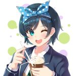 1girl ;d bangs black_hair black_jacket blazer blue_eyes blue_ribbon blush collared_shirt cup diagonal-striped_neckwear diagonal_stripes disposable_cup drinking_straw eyebrows_visible_through_hair green_neckwear hair_ribbon highres holding holding_cup holding_drinking_straw holmemee jacket kanojo_okarishimasu long_sleeves looking_at_viewer necktie one_eye_closed open_blazer open_clothes open_jacket open_mouth polka_dot_ribbon ribbon sarashina_ruka shirt short_hair smile solo striped striped_neckwear swept_bangs upper_body upper_teeth white_background white_shirt
