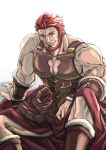 1boy bara bare_shoulders beard cape chest cleavage_cutout facial_hair fate/grand_order fate/zero fate_(series) highres iori0371 iskandar_(fate) leather male_focus manly muscle pectorals red_eyes redhead smile solo