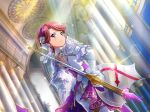 armored isurugi_futaba pink_eyes pink_hair short_hair shoujo_kageki_revue_starlight smile warrior
