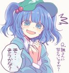 1girl bianco_(mapolo) blouse blue_blouse blue_eyes blue_hair blush clenched_hands collared_shirt eyebrows_visible_through_hair flat_cap green_headwear hair_bobbles hair_ornament hat kawashiro_nitori looking_at_viewer open_mouth pocket shirt short_hair simple_background solo speech_bubble sweat touhou translation_request twintails two_side_up upper_body white_background