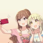 2girls :3 :d ayasaka bang_dream! bangs black_eyes blonde_hair brown_hair cellphone collarbone commentary_request double_w emphasis_lines half_updo holding holding_phone imai_lisa jewelry long_hair multiple_girls necklace open_mouth pendant phone pink_shirt print_shirt self_shot shirt short_sleeves sidelocks smartphone smile tan_background tsurumaki_kokoro upper_body w white_shirt yellow_eyes