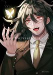 1boy artist_name bangs brown_jacket bug butterfly commentary_request danganronpa dated glasses gokuhara_gonta hair_between_eyes happy_birthday insect jacket layered_sleeves long_hair long_sleeves male_focus necktie new_danganronpa_v3 open_mouth orange_neckwear sakuyu school_uniform shirt solo upper_body upper_teeth white_shirt