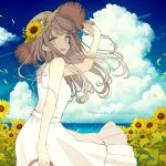 1girl akakura arm_up bare_shoulders blue_eyes blue_sky clouds commentary_request dress english_text field flower flower_field from_behind hat hat_flower highres light_brown_hair long_hair looking_back open_mouth original sky sleeveless sleeveless_dress solo straw_hat summer sunflower water white_dress