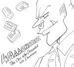 1boy akagi:_yami_ni_oritatta_tensai akagi_shigeru bb_(baalbuddy) commentary english_commentary english_text greyscale highres mahjong mahjong_tile monochrome nose_piercing nose_ring orc orkz parody piercing pointy_ears profile smile solo tusks warhammer_40k white_background