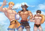 3boys abs alternate_costume bara barawa black_hair bulge chest closed_mouth dark_skin dark_skinned_male draph earrings eyepatch highres horns jewelry long_hair looking_at_viewer male_focus male_swimwear multiple_boys muscle nipples oneirio pectorals pointy_ears reinhardtzar shorts swim_briefs swimwear vane_(granblue_fantasy) volleyball