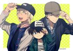 3boys ;d adjusting_headwear akai_shuuichi amuro_tooru arm_up baseball_cap black_hair black_headwear black_jacket blonde_hair blue_eyes border brown_hair brown_headwear casual child closed_mouth clothes_writing commentary_request copyright_name dark_skin dark_skinned_male drawstring edogawa_conan english_text glasses green_eyes green_hoodie hair_between_eyes hat hood hood_down hoodie jacket looking_at_another looking_at_viewer male_focus mashima_shima meitantei_conan multiple_boys one_eye_closed open_clothes open_hoodie open_jacket open_mouth outside_border plaid plaid_shirt shirt smile starry_background striped striped_shirt twitter_username two-tone_headwear upper_body upper_teeth white_border white_shirt yellow_background
