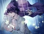 1boy artist_name beard chest commentary_request danganronpa dated eyebrows_visible_through_hair facial_hair goatee happy_birthday holding holding_clothes holding_jacket jacket long_hair long_sleeves male_focus momota_kaito new_danganronpa_v3 purple_hair sakuyu school_uniform shirt smile solo spiky_hair star_(symbol) starry_background violet_eyes white_shirt