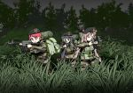 3girls absurdres assault_rifle backpack bag beret black_hair c-77_hongryeon camouflage crossover digital_camouflage full_body green_eyes gun hat highres karyl_(princess_connect!) last_origin load_bearing_vest long_hair low-tied_long_hair low_twintails military military_operator military_uniform multicolored_hair multiple_girls outdoors pink_eyes pink_hair princess_connect! princess_connect!_re:dive redhead rifle streaked_hair t-14_miho tungtunggugu twintails uniform violet_eyes weapon white_hair