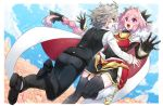 2boys astolfo_(fate) back boots braid braided_ponytail clouds commentary_request covered_navel day eyebrows_visible_through_hair eyes_visible_through_hair fang fate/grand_order fate_(series) gauntlets grey_hair hair_between_eyes haoro highlights long_hair multicolored_hair multiple_boys open_mouth otoko_no_ko outdoors pants pink_hair purple_hair sieg_(fate/apocrypha) skin_fang sky thigh-highs tongue two-tone_hair white_hair zettai_ryouiki