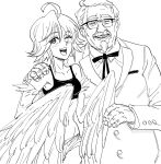 1boy 1girl :d ahoge arm_around_shoulder bb_(baalbuddy) blush colonel_sanders commentary english_commentary feathered_wings fingernails glasses greyscale harpy highres kfc looking_at_viewer monochrome monster_girl monster_musume_no_iru_nichijou neck_ribbon old_man one_eye_closed open_mouth papi_(monster_musume) ribbon simple_background smile white_background wings