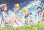 4girls :d absurdres arm_support balloon bangs bare_shoulders barefoot black_hair blue_sky bow breasts brown_eyes brown_hair chemise clouds cloudy_sky confetti day dress dsmile eyebrows_visible_through_hair flower grass hair_bow hair_flower hair_ornament hairclip head_wreath highres huge_filesize knees_up long_hair looking_at_viewer misaka_mikoto multiple_girls open_mouth outdoors saten_ruiko scan shiny shiny_hair shirai_kuroko short_dress short_hair simple_background sitting sky small_breasts smile sundress tied_hair to_aru_kagaku_no_railgun to_aru_majutsu_no_index toes twintails uiharu_kazari white_dress
