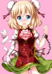 alice_margatroid bandaged_arm bandages blonde_hair blue_eyes blush bun_cover chain cosplay cowboy_shot cuffs double_bun eyebrows_visible_through_hair flower green_skirt highres ibaraki_kasen ibaraki_kasen_(cosplay) looking_at_viewer nose_blush open_mouth pink_background pink_flower pink_rose ribbon rose ruu_(tksymkw) shackles shirt short_sleeves simple_background skirt sweatdrop tabard toilet_paper touhou white_shirt