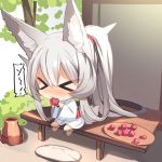 >_< 1girl absurdly_long_hair afterimage animal_ear_fluff animal_ears bangs barefoot blush chibi closed_eyes commentary_request eating eyebrows_visible_through_hair food fox_ears fox_girl fox_tail fruit hair_between_eyes highres holding holding_food japanese_clothes kimono long_hair long_sleeves nose_blush obi original ponytail sash silver_hair sitting solo sweat tail tray tree umeboshi very_long_hair white_kimono wide_sleeves yuuji_(yukimimi)
