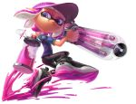 1girl arm_up ballpoint_splatling_(splatoon) black_footwear black_legwear blue_shirt closed_mouth dark_skin domino_mask english_commentary flat_chest from_side full_body hand_up happy highres holding holding_weapon ink_tank_(splatoon) inkling jumping leggings looking_back mask miitara paint pink_hair pink_headwear pointy_ears shiny shiny_hair shirt shoes short_hair short_sleeves simple_background smile solo splatoon_(series) splatter tentacle_hair tentacles violet_eyes visor_cap weapon white_background