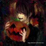 1boy black_hair darren_shan fangs formal male_focus necktie pumpkin red_eyes short_hair smile solo suit the_saga_of_darren_shan vampire