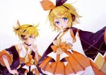 1boy 1girl black_bow black_jacket black_sleeves blonde_hair blue_eyes bow commentary cowboy_shot grin hair_bow hair_ornament hairclip hand_on_own_chin headphones headset highres jacket japanese_clothes kagamine_len kagamine_rin kimono magical_mirai_(vocaloid) open_mouth orange_bow orange_skirt shirt short_ponytail sitting skirt smile spiky_hair standing two-tone_bow ui+ vocaloid white_shirt yukata
