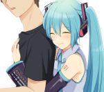 1boy 1girl aqua_eyes aqua_hair aqua_nails aqua_neckwear bare_shoulders black_shirt black_sleeves brown_hair commentary detached_sleeves faceless faceless_male grey_shirt hair_ornament hatsune_miku headphones headset hug long_hair master_(vocaloid) nail_polish necktie nokuhashi shirt shoulder_tattoo sleeveless sleeveless_shirt tattoo twintails upper_body very_long_hair vocaloid white_background