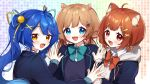 3girls :d ahoge amamiya_kokoro animal_ears bell black_jacket blazer blue_bow blue_eyes blue_hair blue_ribbon blush bow brown_eyes brown_hair collared_shirt commentary_request deer_ears drawstring eli_conifer fang grey_jacket hair_bell hair_ornament hair_ribbon hairclip hands_together hood hood_down hooded_jacket jacket jingle_bell long_hair long_sleeves looking_at_viewer looking_to_the_side low_twintails multiple_girls nijisanji open_blazer open_clothes open_jacket open_mouth palms_together ratna_petit red_bow red_panda_ears red_ribbon ribbon shirt sleeves_past_wrists smile sweater_vest twintails upper_body virtual_youtuber white_shirt x_hair_ornament yamabukiiro yellow_ribbon