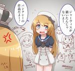 2girls anger_vein arms_behind_back batsubyou blonde_hair blue_eyes blue_sailor_collar commentary crown dress enemy_lifebuoy_(kantai_collection) from_behind gloves graffiti hat holding holding_pencil janus_(kantai_collection) jervis_(kantai_collection) kantai_collection mini_crown mitchell_(dynxcb25) monster_in_kamata multiple_girls pencil sailor_collar sailor_dress sailor_hat swordfish_(airplane) translated warspite_(kantai_collection) white_dress white_gloves white_headwear