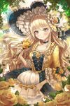 1girl artist_name bangs black_bow black_choker blonde_hair blush bow bug butterfly center_frills choker collarbone commentary dress flower frilled_dress frilled_hat frilled_sleeves frills hat hat_flower hat_ribbon highres holding holding_flower insect lolita_fashion long_hair looking_at_viewer miro_(2miro2) original ribbon rose smile solo symbol_commentary twitter_username wavy_hair yellow_eyes yellow_flower yellow_rose