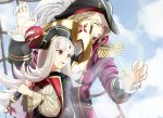 1boy 1girl absurdres anchor blonde_hair blue_sky clouds commentary_request fire_emblem fire_emblem_fates fire_emblem_heroes grey_hair hat highres holding long_hair long_sleeves one_eye_closed open_mouth parted_lips pirate_costume pirate_hat red_eyes short_hair sky sukkirito_(rangusan) upper_body veronica_(fire_emblem) xander_(fire_emblem)