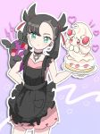 1girl alcremie anzu_(01010611) apron asymmetrical_bangs bangs black_apron black_choker black_hair blush choker closed_mouth commentary_request cowboy_shot dress earrings eyelashes gen_8_pokemon green_eyes hair_ribbon hand_on_hip hand_up heart holding holding_plate jewelry looking_at_viewer mary_(pokemon) medium_hair morpeko morpeko_(hangry) pink_dress plate pokemon pokemon_(creature) pokemon_(game) pokemon_on_arm pokemon_swsh purple_background red_ribbon ribbon