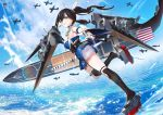 1girl a6m_zero aircraft airplane black_hair black_legwear blue_oath breasts costor32 flight_deck from_side full_body hair_ribbon highres holding holding_sword holding_weapon kaga_(blue_oath) katana large_breasts long_hair looking_at_viewer ponytail ribbon sheath sheathed smile solo sword weapon white_ribbon yellow_eyes
