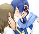 1boy 1girl absurdres blue_hair blue_nails blue_scarf brown_hair closed_eyes coat commentary forehead-to-forehead hand_on_another's_head headset highres hug kaito kaito_(vocaloid3) master_(vocaloid) medium_hair nokuhashi open_mouth scarf shirt smile upper_body vocaloid white_background white_coat white_shirt zipper