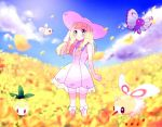 1girl anzu_(01010611) blonde_hair blush braid butterfree clenched_hand closed_mouth clouds commentary_request cutiefly day dress eyelashes field flower flower_field gen_1_pokemon gen_5_pokemon gen_7_pokemon green_eyes hand_on_headwear hat lillie_(pokemon) long_hair outdoors petilil pokemon pokemon_(creature) pokemon_(game) pokemon_sm sky smile socks standing sun_hat sundress twin_braids white_dress white_headwear