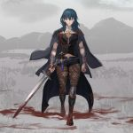 1girl aizumi240326 armor black_shorts blood blood_on_face bloody_hair bloody_weapon blue_eyes blue_hair byleth_(fire_emblem) byleth_(fire_emblem)_(female) closed_mouth dagger fire_emblem fire_emblem:_three_houses highres holding holding_sword holding_weapon navel_cutout pantyhose sheath sheathed short_shorts shorts solo sword weapon