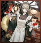 1girl alternate_costume apron artist_name black_kimono blonde_hair commentary_request danganronpa dress flower glass green_eyes hair_over_one_eye headdress highres holding indoors japanese_clothes kimono lamp long_sleeves looking_at_viewer maid_headdress new_danganronpa_v3 plate red_flower sakuyu short_hair solo spoon toujou_kirumi translation_request twitter_username white_apron white_sleeves