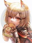1girl animal_ear_fluff animal_ears arknights blonde_hair bread child earrings eating eyebrows_behind_hair fingerless_gloves food fox_ears fox_girl gloves hair_ornament hairclip highres hood hood_down jewelry looking_at_viewer medium_hair melon_bread multiple_earrings necklace notched_ear orange_eyes poncho prosthesis prosthetic_arm shirt solo v-shaped_eyebrows vermeil_(arknights) white_background white_shirt xilveroxas