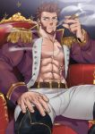1boy abs absurdres armpits bara beard belt blue_eyes brown_hair bulge chest cigar epaulettes facial_hair fate/grand_order fate_(series) fringe_trim goatee highres jacket long_sleeves looking_at_viewer male_focus military military_uniform muscle napoleon_bonaparte_(fate/grand_order) nipples open_clothes open_jacket pants pectorals scar sideburns sitting smoking solo suyobara thick_thighs thighs throne tight unbuttoned uniform upper_body white_pants