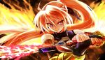 1girl agito_(fusion) ahoge bangs black_gloves black_ribbon black_shirt bracelet braid chupirinko elbow_gloves fiery_wings fingerless_gloves fire flaming_sword flaming_weapon gloves hair_ribbon highres holding holding_sword holding_weapon jewelry levantine looking_at_viewer lyrical_nanoha mahou_shoujo_lyrical_nanoha_strikers pink_hair ponytail ribbon shirt signum sleeveless sleeveless_shirt smirk solo standing sword unison v-shaped_eyebrows violet_eyes weapon