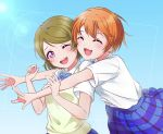 2girls :d absurdres bangs bow bowtie brown_hair closed_eyes commentary_request dress_shirt eyebrows_visible_through_hair highres hoshizora_rin hug hug_from_behind koizumi_hanayo love_live! love_live!_school_idol_project multiple_girls one_eye_closed open_mouth orange_hair otonokizaka_school_uniform partial_commentary plaid plaid_skirt school_uniform shiny shiny_hair shirt shirt_tucked_in short_hair simple_background skirt smile striped striped_neckwear sunlight sweater_vest swept_bangs tongue torakichi upper_body upper_teeth violet_eyes