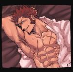 1boy abs armpit_hair bara beard blue_eyes blush brown_hair chest chun_(luxtan) facial_hair fate/grand_order fate_(series) goatee male_focus muscle napoleon_bonaparte_(fate/grand_order) on_bed pectorals scar sideburns smile solo sweat unbuttoned undressing