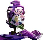 1girl ballpoint_splatling_(splatoon) blue_eyes chair closed_mouth disassembly domino_mask flat_chest full_body green_footwear hand_up highres holding inkling jpeg_artifacts kneehighs long_sleeves looking_down mask miitara notepad office_chair paper pen pointy_ears purple_hair raised_eyebrow shiny shiny_hair shirt shoes short_hair sidelocks simple_background sitting sketch solo splatoon_(series) tentacle_hair tentacles tied_hair topknot vest white_background white_legwear white_shirt yellow_vest