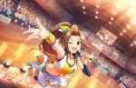 aino_nagisa blush brown_hair dress green_eyes idolmaster_cinderella_girls_starlight_stage long_hair ponytail smile wink