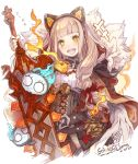 +++ 1girl :d belt blonde_hair breasts cloak commentary_request corset dated eyebrows_visible_through_hair fur_trim haku_(sabosoda) holding holding_sword holding_weapon hood hood_down hooded_cloak huge_weapon little_red_riding_hood_(sinoalice) lock long_hair looking_at_viewer nightmare_(sinoalice) open_mouth orange_eyes padlock sinoalice small_breasts smile solo sword upper_teeth weapon white_background