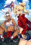 3girls animal_ears artist_name bangs bare_shoulders blonde_hair blue_eyes blunt_bangs blunt_ends breasts caenis_(fate) clouds collarbone commentary_request cowboy_shot dark_skin day denim denim_shorts eyebrows_visible_through_hair fate/grand_order fate_(series) full_body green_eyes hair_between_eyes highres jewelry long_hair long_sleeves looking_at_viewer medium_breasts meiji_ken midriff mordred_(fate) mordred_(fate)_(all) multiple_girls navel necklace outdoors ponytail saint_martha short_hair shorts sitting sitting_on_stairs sky sleeveless small_breasts stairs stomach tattoo teeth twitter_username very_long_hair watermark white_hair