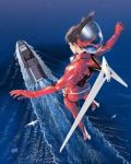 1girl boat bodysuit brown_hair flying from_behind highres jetpack looking_down medium_hair ocean original solo umeno_ryuuji water watercraft