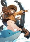 1girl anchor artist_name bike_shorts black_gloves boots brown_eyes brown_hair dolphin fingerless_gloves gloves guilty_gear guilty_gear_strive hat highres long_hair may_(guilty_gear) orange_gloves orange_headwear orange_shirt pirate_hat shirt shorts signature skull_and_crossbones solo splashing tansan_daisuki water