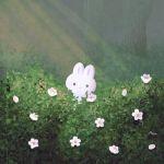 ayu_(mog) bush daisy flower forest light_rays nature no_humans original outdoors rabbit signature smile solo symbol_commentary tree white_flower